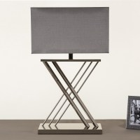 Xavier Table Lamp Nickle with Grey Rectangle Shade - All ...