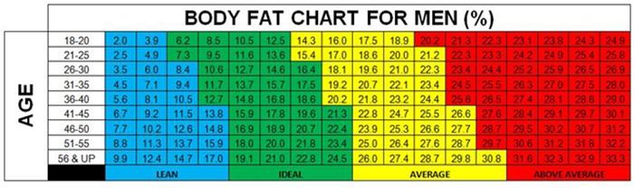 bodyfat chart body fat percentage male bmi chart new diet chart for