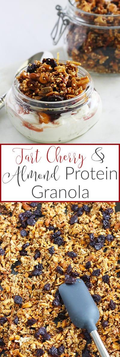 Tart Cherry & Almond Protein Granola {vegan/gluten free} - FitLiving ...