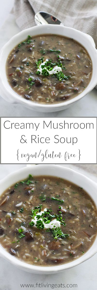 Get the recipe for this Creamy Mushroom & Rice Soup (vegan and gluten ...