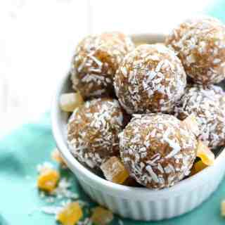 Bust out your food processor for these Tropical Coconut Energy Balls! Just 5 ingredients and 10 minutes to make these vegan & gluten-free bites!