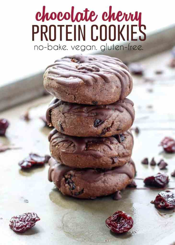 No-Bake Chocolate Cherry Protein Cookies [ vegan, gluten-free ] - Fit ...