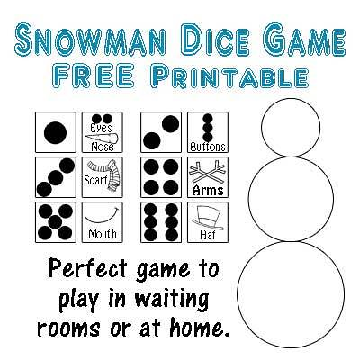 Snowman Dice Game Printable Five Little Chefs