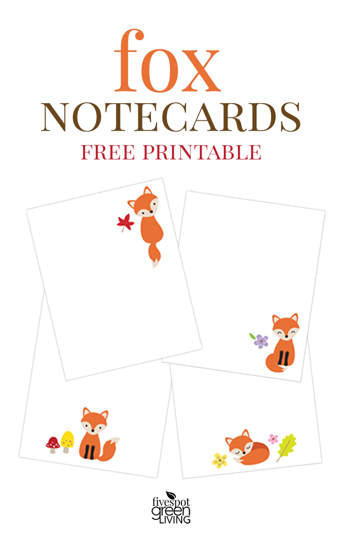 Free Printable Fox Note Cards Stationery - Five Spot Green Living