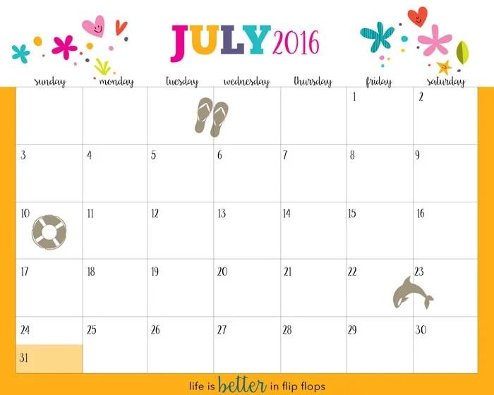 Hello Summer! Free Printable Calendar 2016 - Five Spot Green Living - free printable calendar