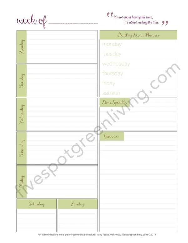 Easy Weeknight Dinners Meal Plan Volume 18 - Five Spot Green Living - weekly dinner meal plans