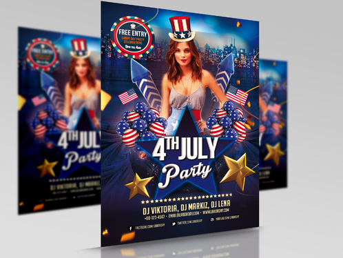 Design Beautiful Independence Day 4th July Party Event Flyer And