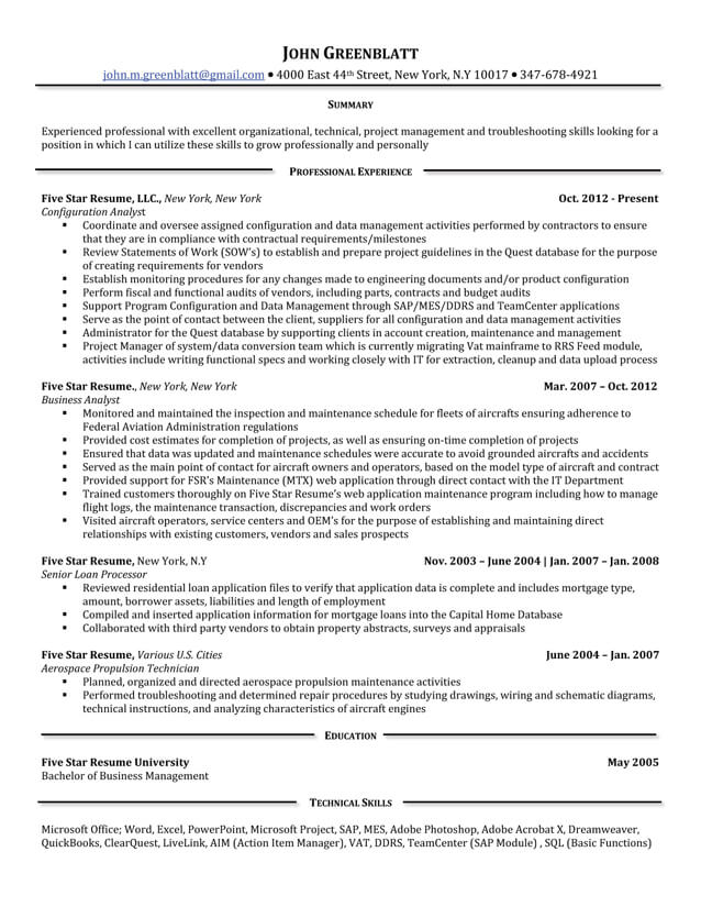 use star format to build strong resume your work