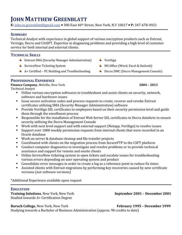 Professional Resume Writing Service NJ Five Star Resume - technical analyst resume