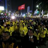 A demonstration in South Korea over the MV Sewol ferry disaster.