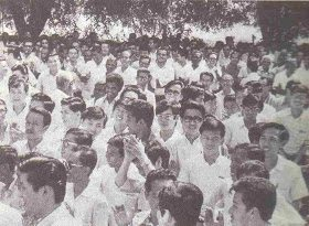 Picket lines at Straits Times Strike 1971