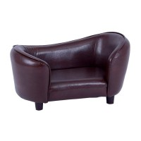 Luxury Brown PU Leather Pet bed Dog Sofa couch toy Cat ...
