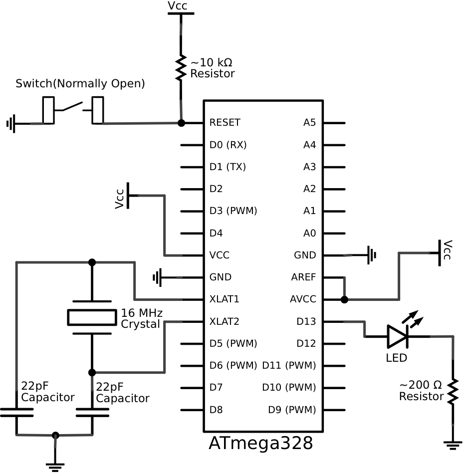 an atmega328 to arduino pin mapping diagram can be found
