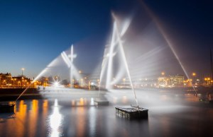 Flying Dutchman Ghost Ship Created with Water and Light
