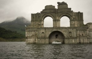 Church Appears From The Water Reservoir in Mexico