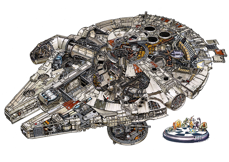 Highly Detailed Illustrations of Star Wars Vehicles and Places