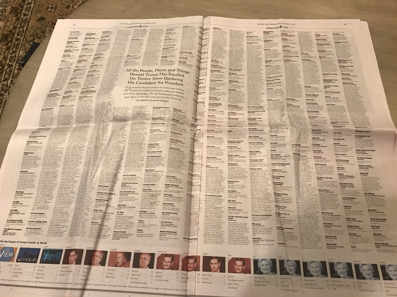 New York Times Prints All of Donald Trump's Twitter Insults