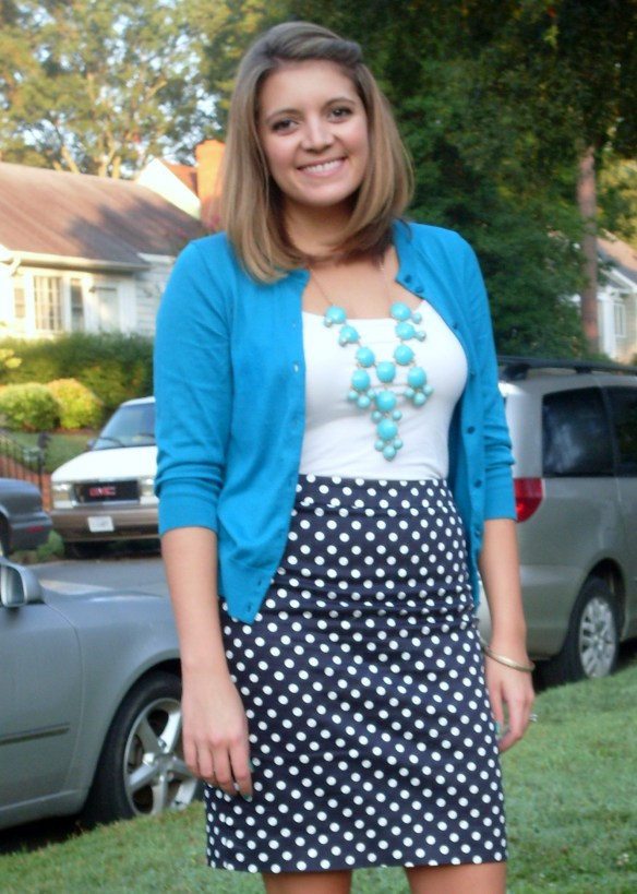 Bubble necklace and polka dot pencil skirt