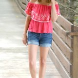 embroidered off the shoulder top and cuffed denim shorts from @fizzandfrosting