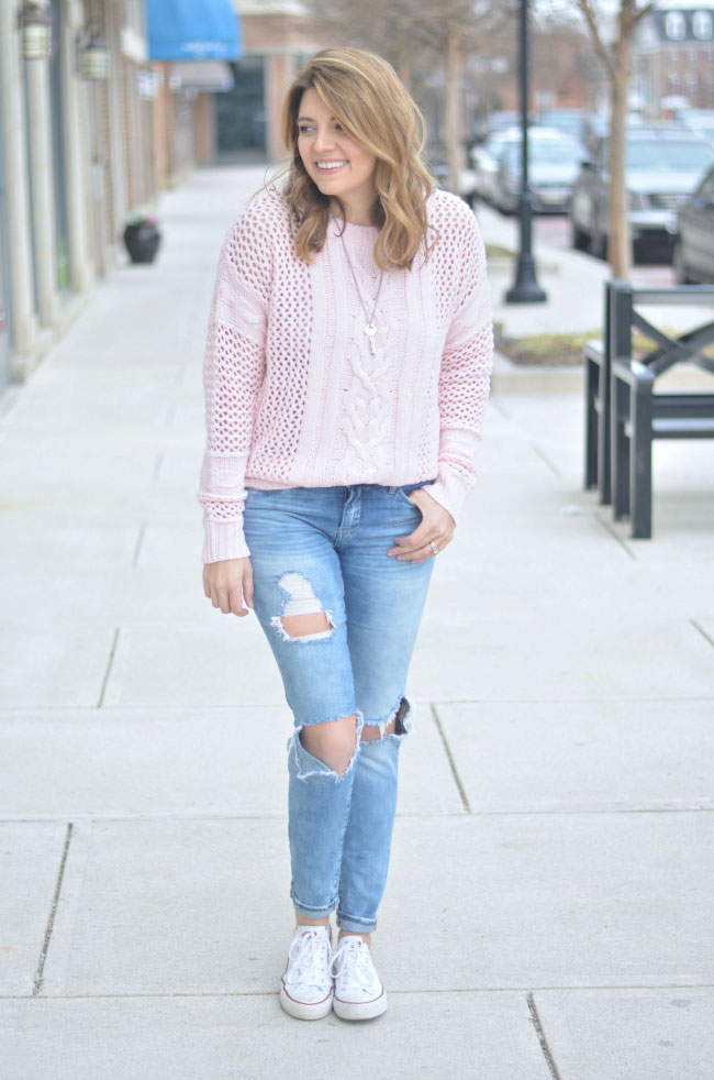 blush pink oversized sweater, destroyed skinny jeans via fizzandfrosting.com