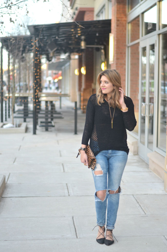 black open knit sweater, distressed denim via fizzandfrosting.com
