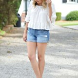 70's style for summer - white eyelet top, distressed shorts, cork wedges | www.fizzandfrosting.com