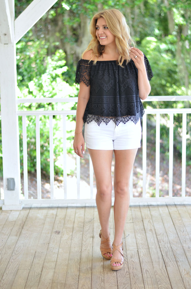 summer style - lace off the shoulder top with white shorts | www.fizzandfrosting.com