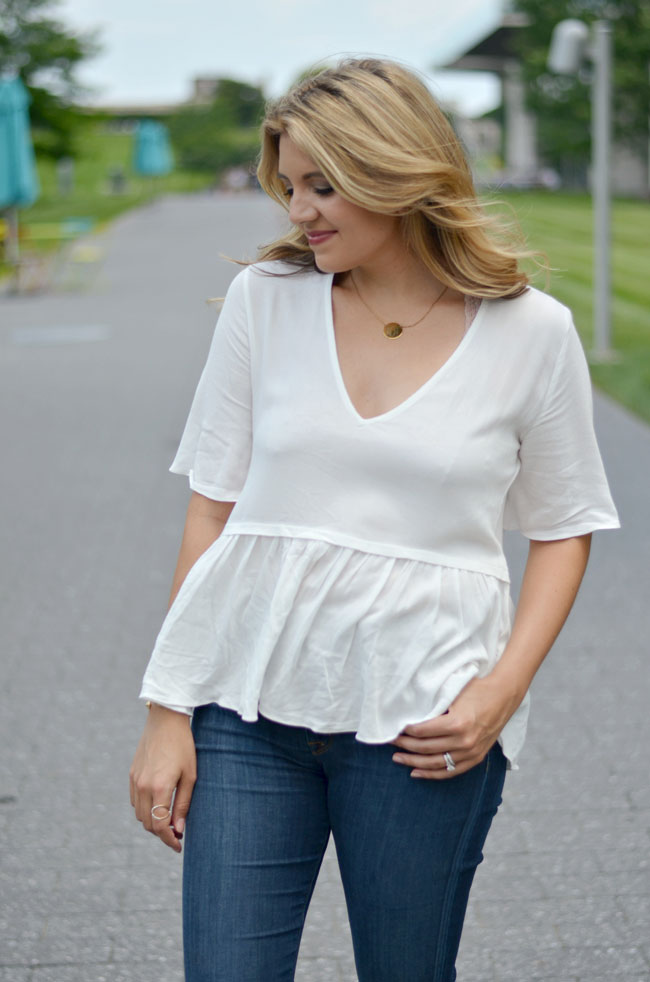 blush and brulee open back peplum blouse | www.fizzandfrosting.com