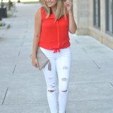 Dress up distressed jeans - white ripped jeans, tie up blouse, nude lace up flats | www.fizzandfrosting.com