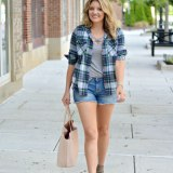 plaid for warm weather - early fall outfit | www.fizzandfrosting.com