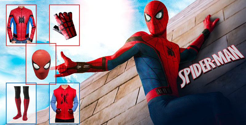 Spiderman Costume Cosplay Mask With Gloves And Shoes