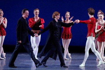 """Rubies"" curtain call with Thordal Christensen and Colleen Neary with Los Angeles Ballet ensemble. Image Reed Hutchinson"