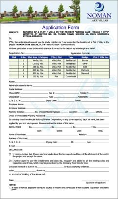 NOMAN LAKE VILLAS KARACHI (Application Form)