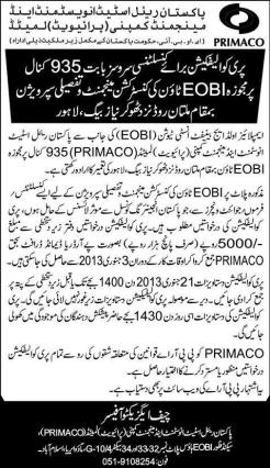 PRIMACO EOBI Town Lahore - Pre-Qualification for Consultancy Services
