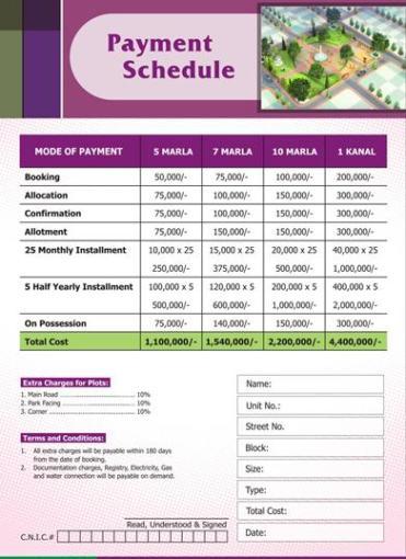 Gulshan e Subhan Faisalabad Payment Schedule