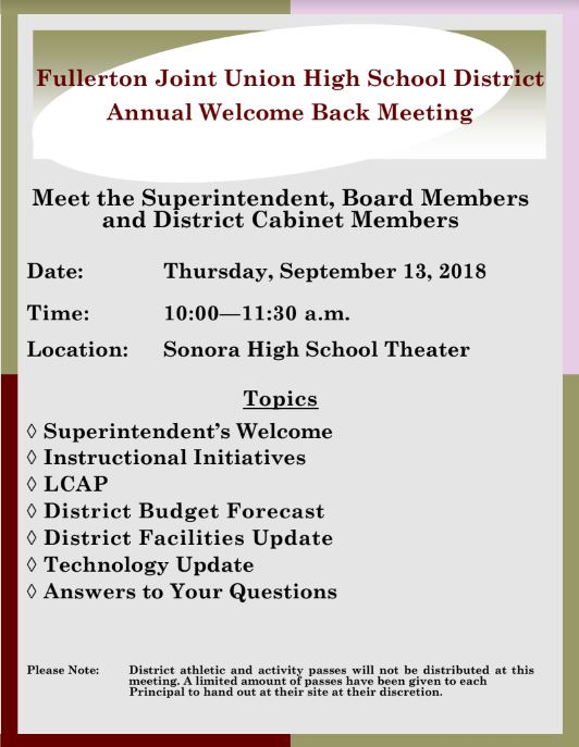 Fullerton Joint Union High School District Annual Welcome Back