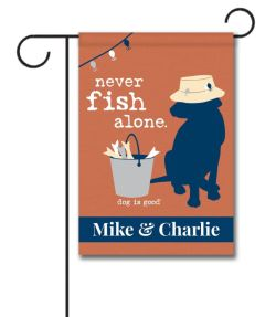 Stupendous Never Fish Alone Personalized Garden Flag Personalized Never Fish Alone Garden Flag X Custom Personalized Outdoor Flags Personalized Garden Flags Photo