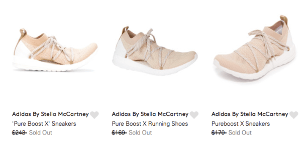 Sold out in official Adidas online stores