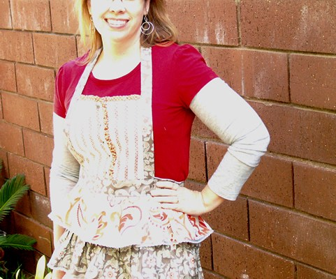 Buttons and Ruffles apron
