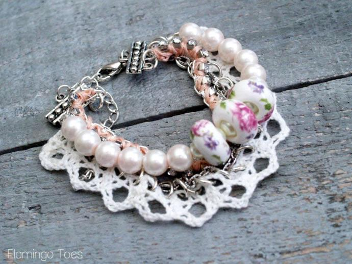 Lace and Beads Bracelet Tutorial
