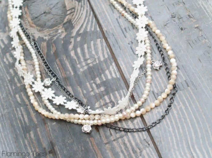 Lace, Bead and Chain Necklace