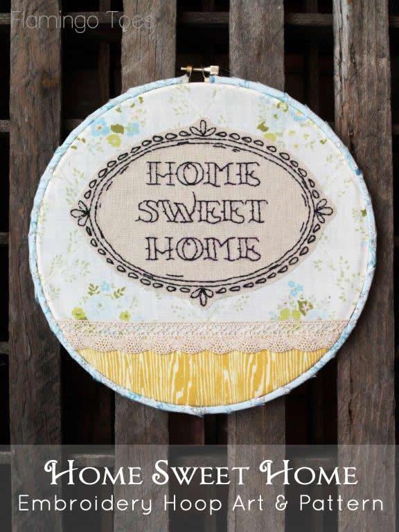 Home Sweet Home Embroidery Hoop Art