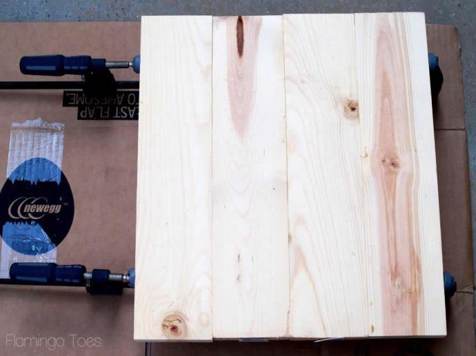glueing wooden pieces