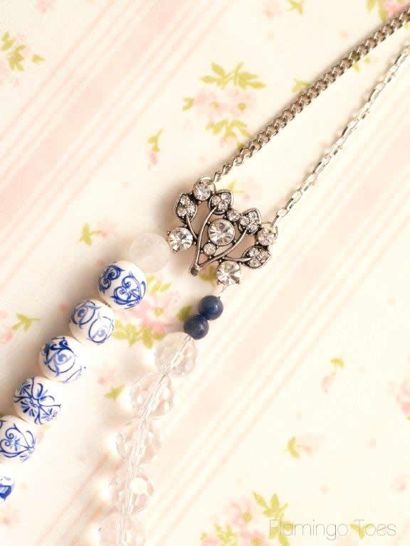 beads and rhinetone necklace