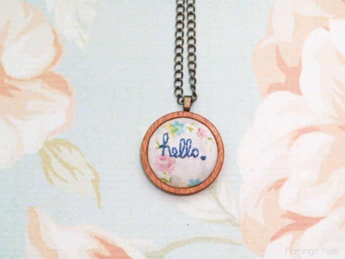 hello embroidered necklace