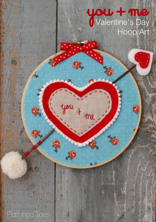 You and Me Valentines Day Hoop Art