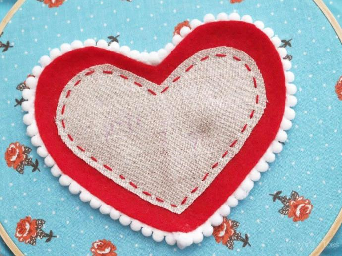 linen and felt heart