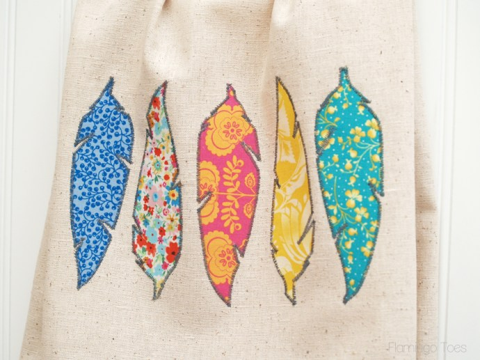 pretty fabric feather dish towel