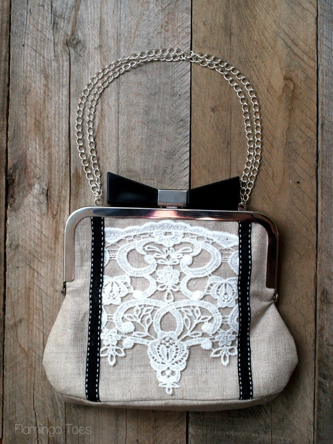 Lace and Linen Clutch