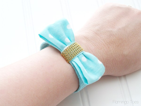 Mint Fabric Bow Bracelet